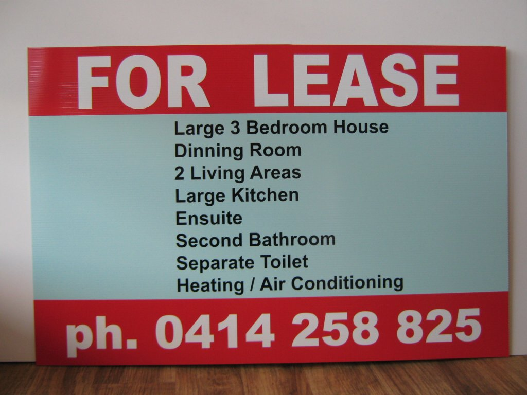 Corflute Signs For Lease