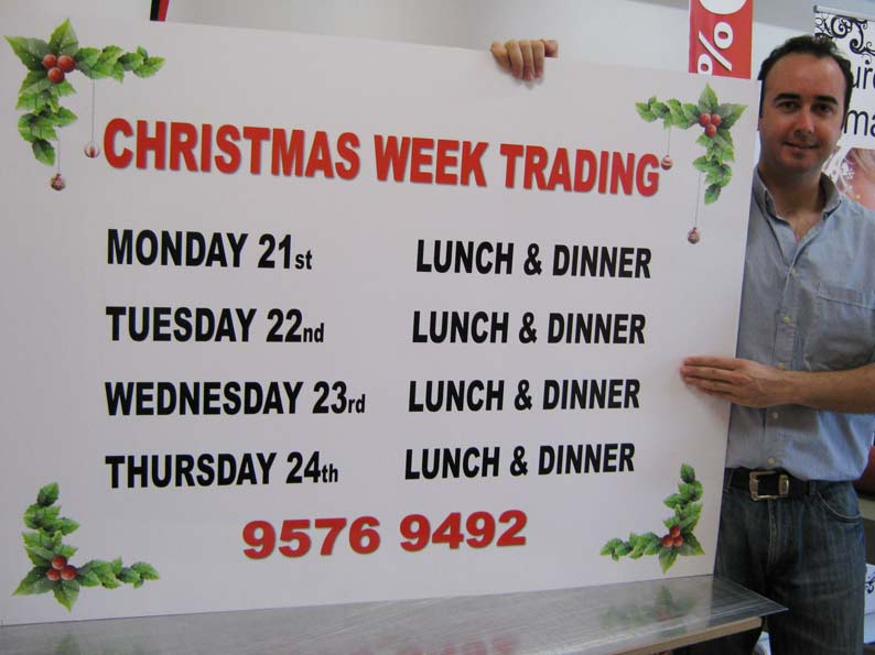 Custom Signs for Christmas Week Trading